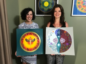 Group Acrylic Mandala Painting Intuitive Art Therapy Workshop with Embarked with Simone in Atwell, South of Perth Western Australia