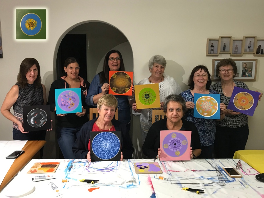 Group Acrylic Mini Mandala Painting Intuitive Art Therapy Workshop with Embarked with Simone in Atwell, South of Perth Western Australia